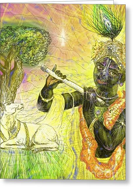 Krishna With Spiritual Illumination Greeting Card