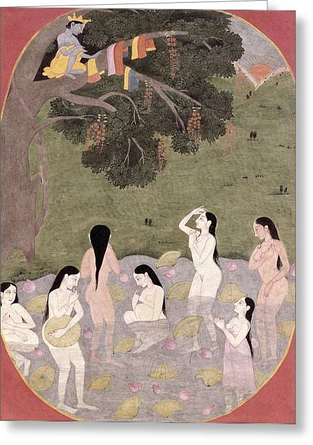 Krishna With The Cow Girls Clothes, Tehri-garhwal, C.1820-30 Wc On Paper Greeting Card