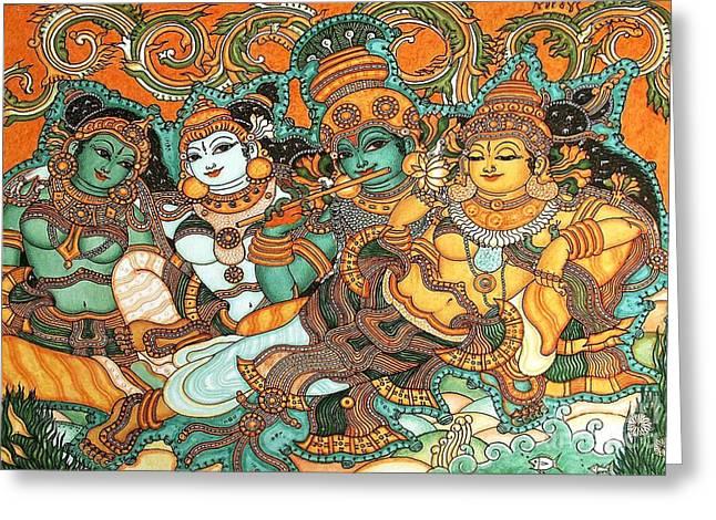 Krishna Wooing Radha Greeting Card