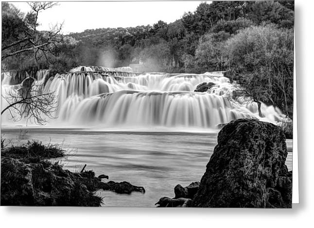 Krka Waterfalls Bw Greeting Card