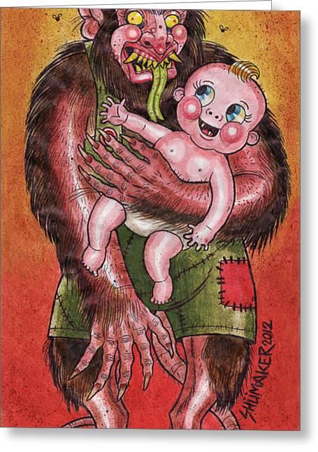 Krumpus And Baby New Year Greeting Card by David Shumate