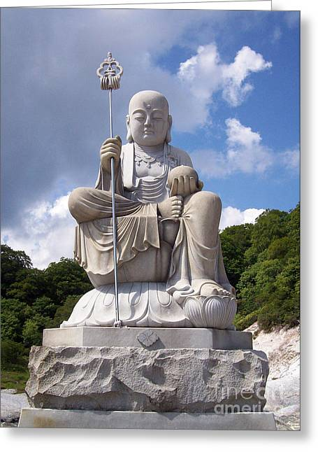 Greeting Card featuring the photograph Ksitigarbha by Cheryl McClure