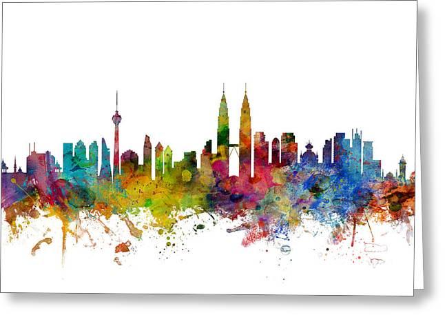 Kuala Lumpur Malaysia Skyline Greeting Card by Michael Tompsett