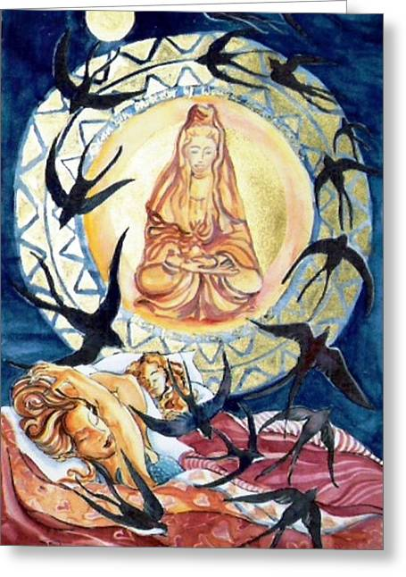 Kuan Yin  Born From A Ray Of Light  Greeting Card by Trudi Doyle
