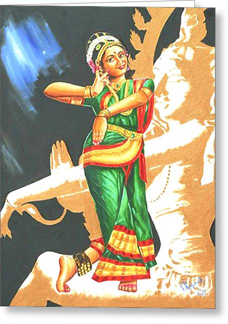 Greeting Card featuring the painting Kuchipudi- The Dance Of The Gods by Ragunath Venkatraman