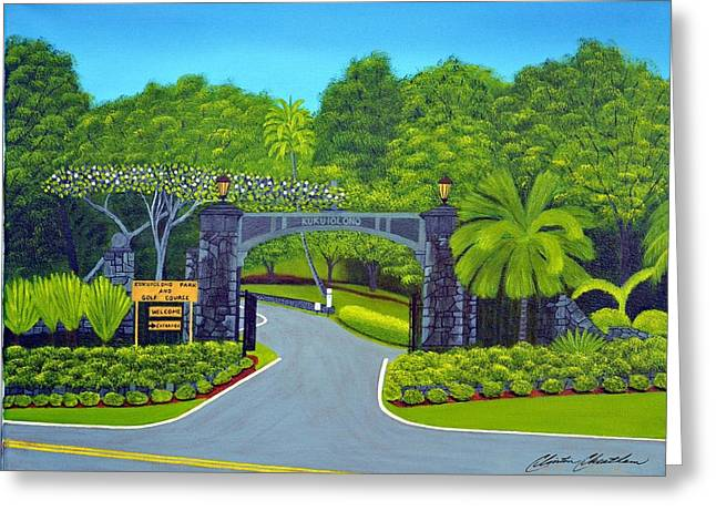 Tropical Golf Course Greeting Cards - Kukuiolono Golf Course Greeting Card by Clinton Cheatham