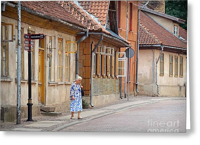 Kuldiga Street Crossing Greeting Card