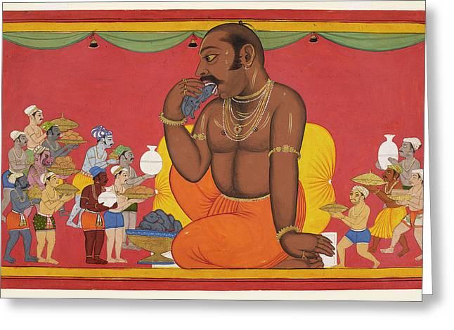Kumbhakarna Is Fed Greeting Card by British Library