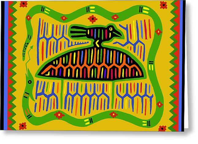 Greeting Card featuring the digital art Kuna Bird With Snake by Vagabond Folk Art - Virginia Vivier