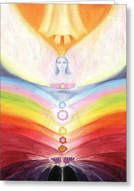 Kundalini Awakening By The Descent Of The Truth Consciousness Greeting Card by Shiva Vangara
