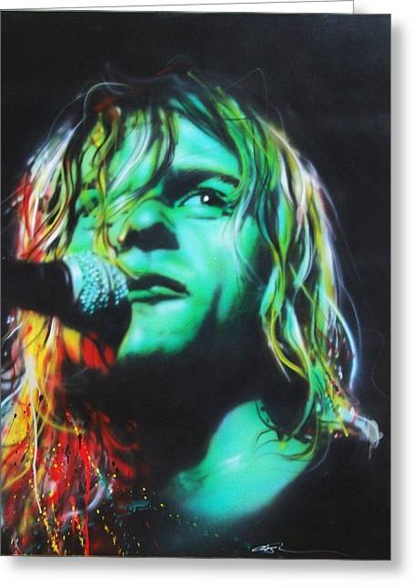 Kurt Cobain - ' Kurdt Kobain ' Greeting Card by Christian Chapman Art