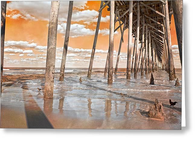 Kure Beach Pier Greeting Card by Betsy Knapp