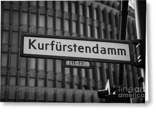 Kurfurstendamm Street Sign Berlin Germany Greeting Card by Joe Fox