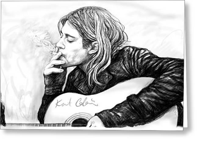 Kurt Bobain Art Long Drawing Sketch Poster Greeting Card