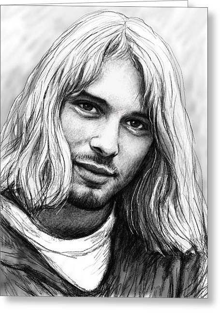 Kurt Cobain Art Drawing Sketch Portrait Greeting Card by Kim Wang