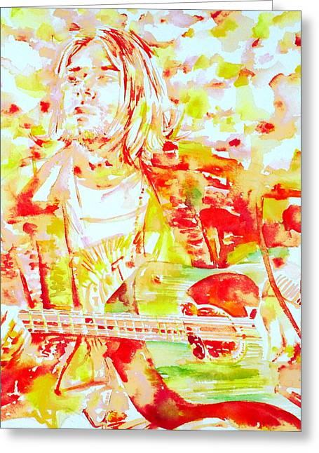 Kurt Cobain Live Concert - Watercolor Portrait Greeting Card by Fabrizio Cassetta