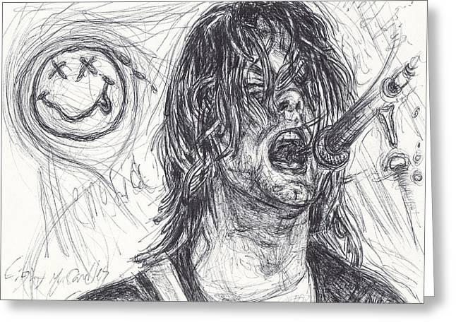 Kurt Cobain Greeting Card by Michael Morgan