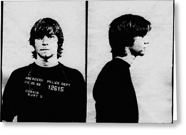 Kurt Cobain Mugshot Greeting Card by Bill Cannon