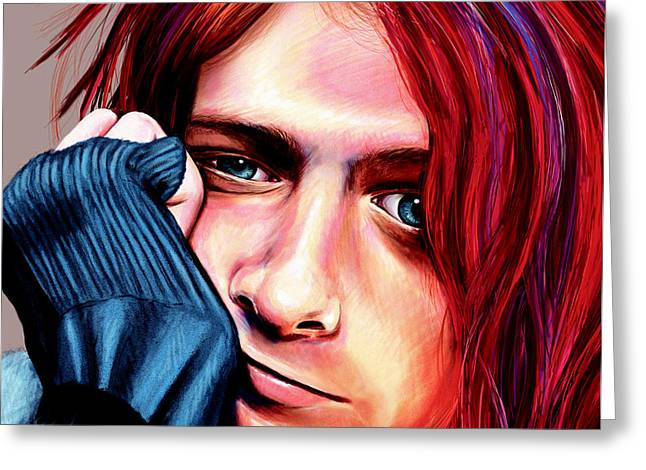 Greeting Card featuring the painting Kurt Cobain by Shawna Rowe