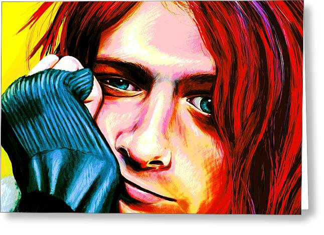 Kurt Cobain - Ultra Color Version Greeting Card by Shawna Rowe