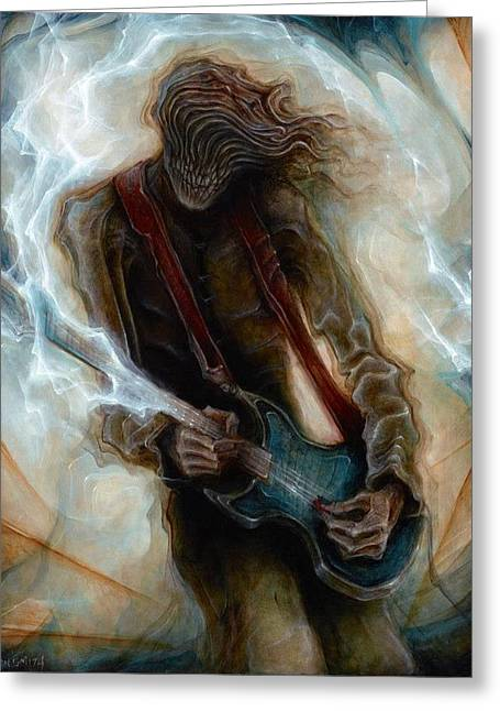 Kurt Cobain Zombie Greeting Card by Robert Anderson