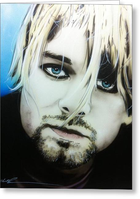 Kurt Cobain - ' Kurt V ' Greeting Card by Christian Chapman Art
