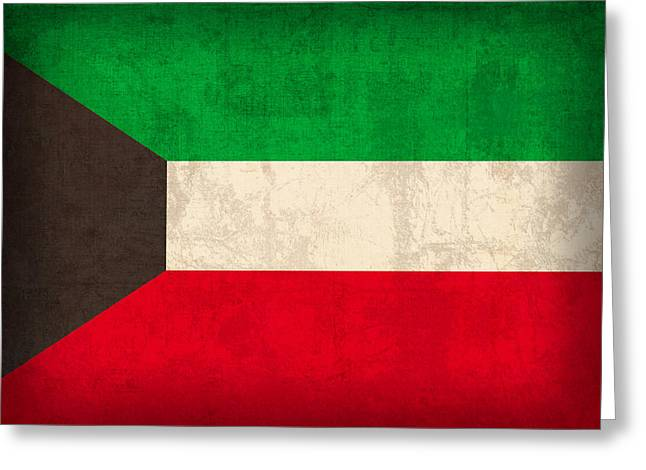 Kuwait Flag Vintage Distressed Finish Greeting Card by Design Turnpike