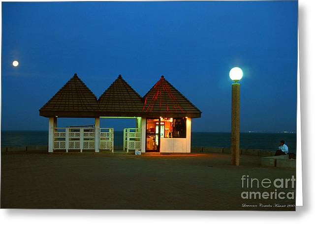 Kuwaiti Pier Snack Bar At Dusk Greeting Card by Lawrence Costales