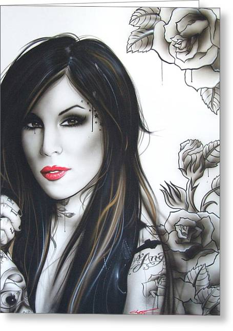 Kat Von D - ' K. V. D. ' Greeting Card by Christian Chapman Art