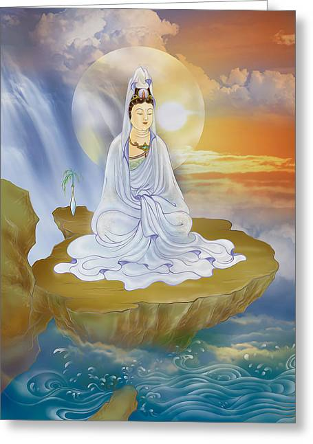 Greeting Card featuring the photograph Kwan Yin - Goddess Of Compassion by Lanjee Chee