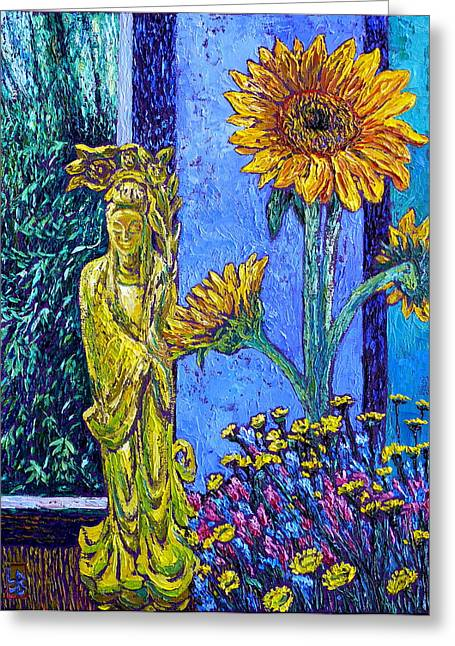 Kwan Yin With Flowers Greeting Card by Linda J Bean