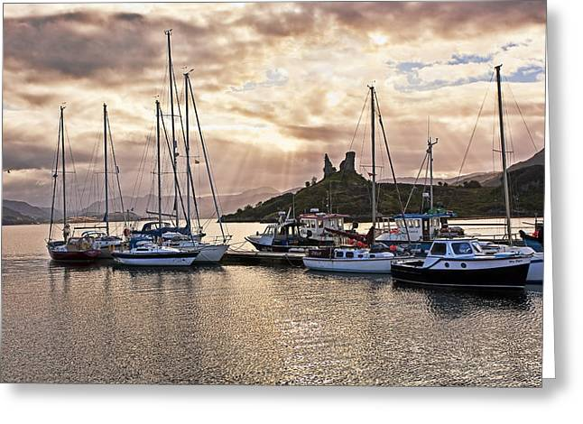 Kyleakin Harbor And Castle Moil Greeting Card by Marcia Colelli