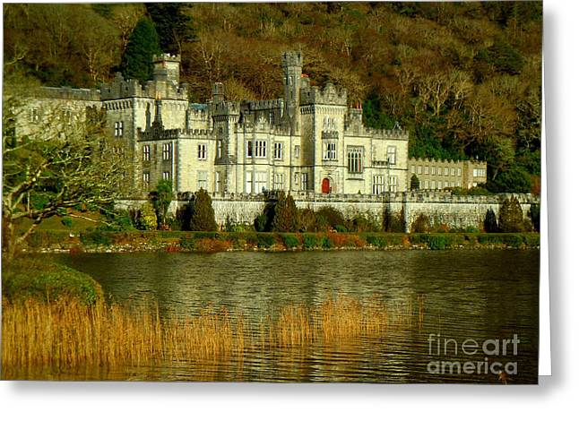 Kylemore Abbey On A Golden Afternoon Greeting Card by Anne Gordon