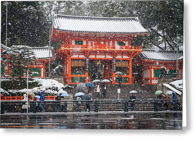 Kyoto Snowfall Greeting Card