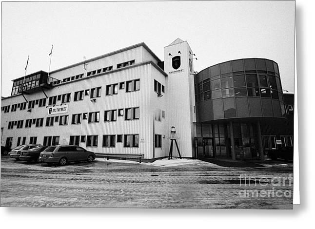 kystverket norwegian coastal administration building Honningsvag finnmark norway europe Greeting Card