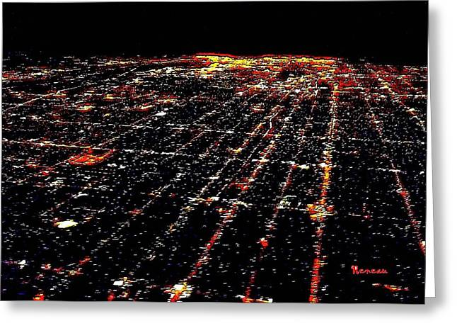 L A Skyscape At Night Greeting Card by Sadie Reneau