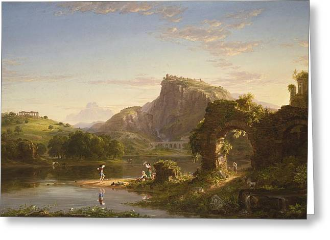 L Allegro Greeting Card by Thomas Cole
