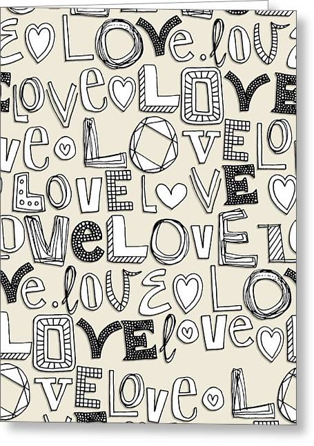 l o v e LOVE ivory white Greeting Card