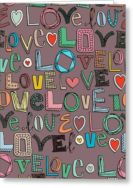 l o v e LOVE mocha Greeting Card