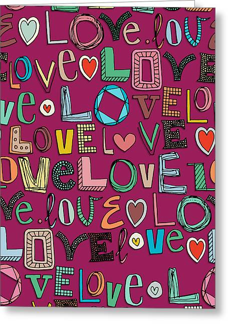 l o v e LOVE pink Greeting Card by Sharon Turner
