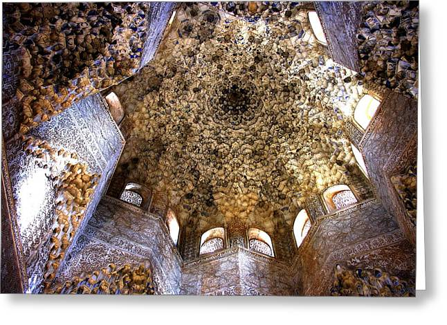 La Alhambra Ceiling -  Granada Greeting Card by Jacqueline M Lewis