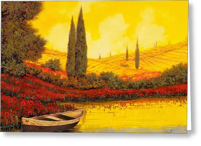 La Barca Al Tramonto Greeting Card by Guido Borelli