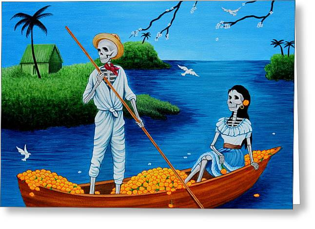 Greeting Card featuring the painting La Barca by Evangelina Portillo