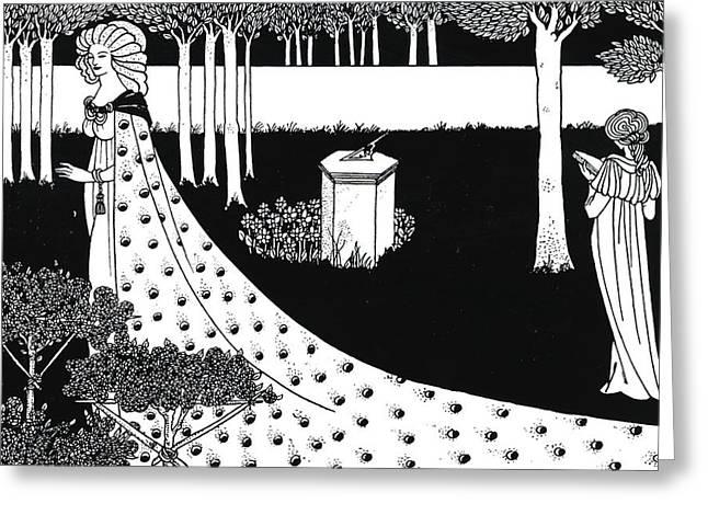 La Beale Isoud At Joyous Gard Greeting Card by Aubrey Beardsley