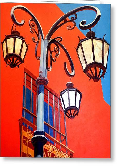 La Boca Street Lamps #21 Greeting Card