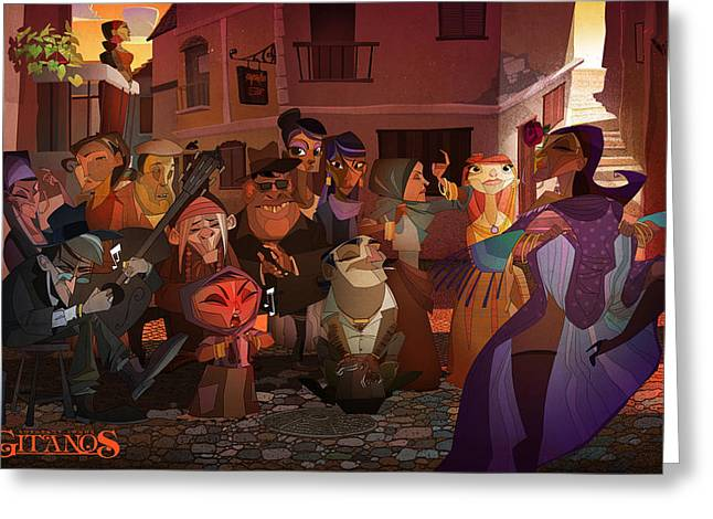 Greeting Card featuring the digital art La Calle by Nelson Dedos Garcia