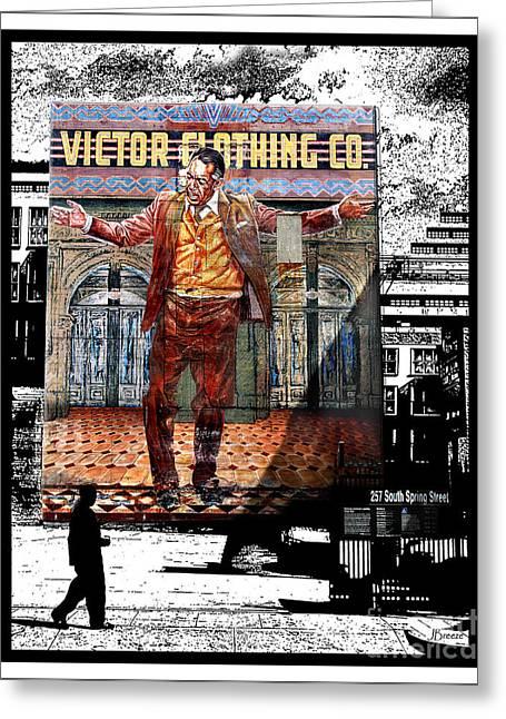 Greeting Card featuring the digital art La City Beat Digitized by Jennie Breeze
