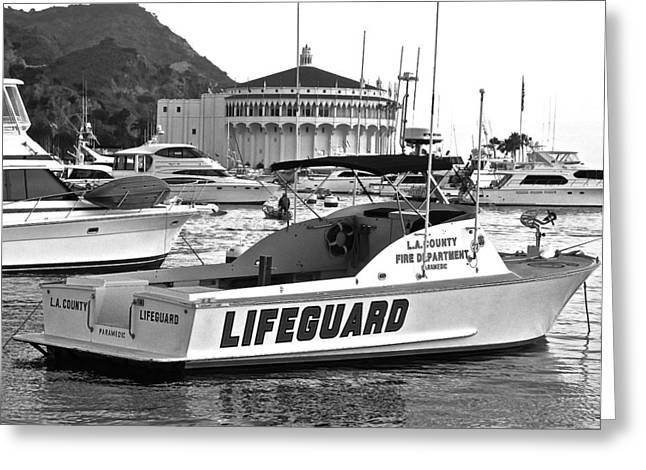 L A County Lifeguard Boat B W Greeting Card by Jeff Gater