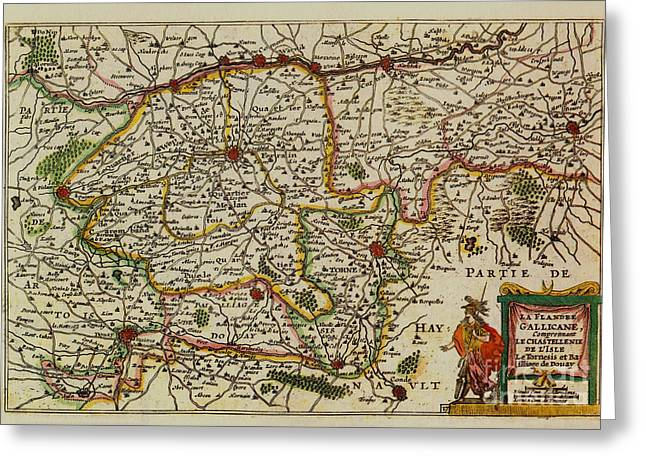 La Fandre Gallicane Vintage Map Greeting Card by Inspired Nature Photography Fine Art Photography