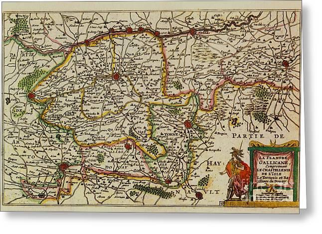 La Fandre Gallicane Vintage Map Greeting Card